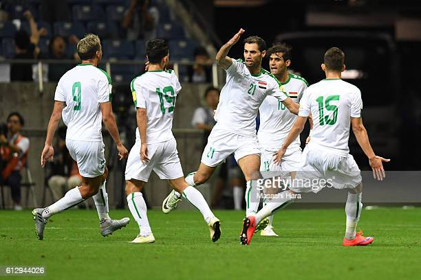 Saad Abdulameer of Iraq celebrates the first goal during the 2018 FIFA World Cup Qualifiers match between Japan and Iraq at Saitama Stadium on...