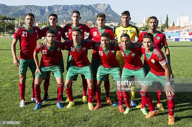 Saad Ait Khorsa of Morocco U21 Achraf Bencharki of Morocco U21 Badr Benoun of Morocco U21 Walid el Karti of Morocco U21 goalkeeper Ahmed Reda...