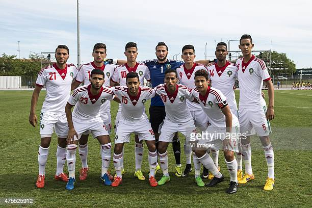 Saad Ait Khorsa of Morocco U21 Walid El Karti of Morocco U21 Aymane El Hassouni of Morocco U21 goalkeeper Badreddine Benachour of Morocco U21 Achraf...