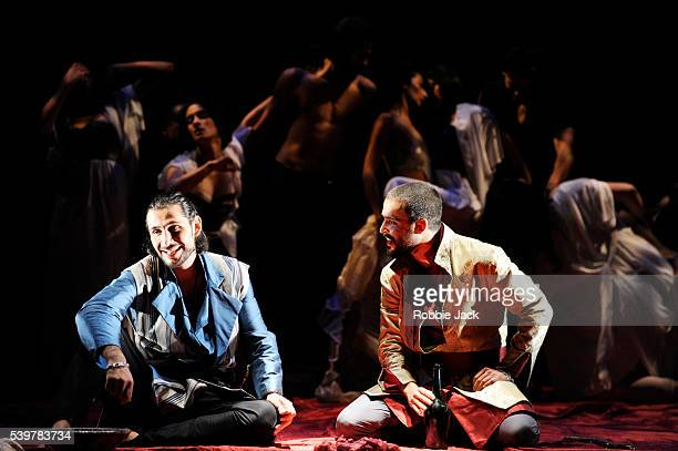 Saad Al Ghefari as Shazaman and Assaad Bouab as Sharayar in Tim Supple's 'One Thousand And One Nights' directed by Tim Supple at the Royal Lyceum...
