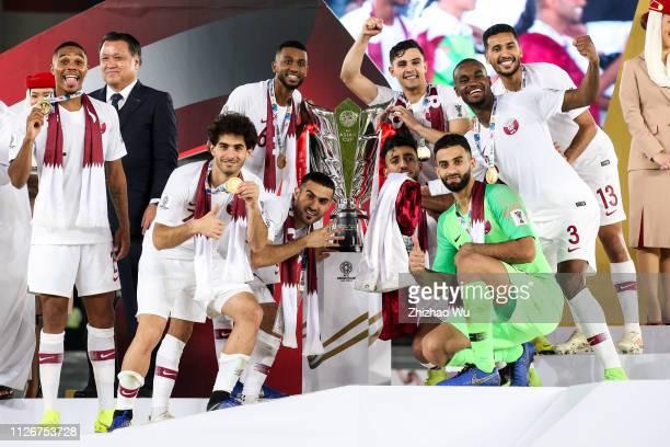 Saad Al Sheeb and Abdelkarim Hassan and Abdel Aziz Hatim and Tarek Salman and Bassam Alrawi and Abdulkareem Salem AlAli of Qatar celebrates their...