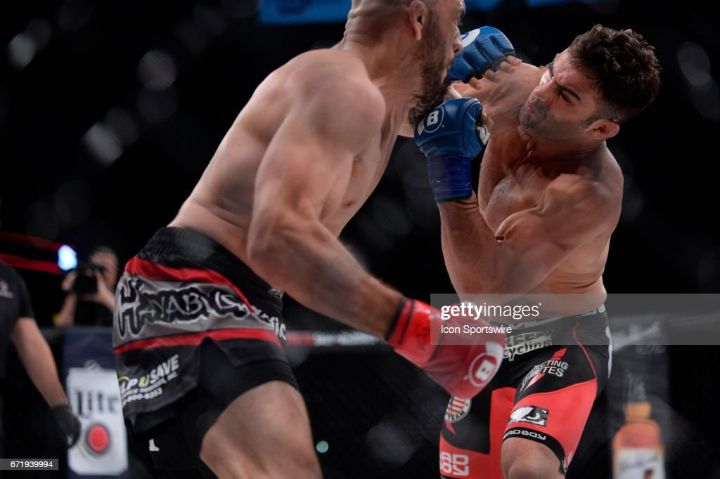 Saad Awad (red gloves) takes on Ryan Quinn (blue gloves) in a Lightweight bout on April 21, 2017 at Bellator 178 at the Mohegan Sun Arena in Uncasville, Connecticut. Saad Awad defeats Ryan Quinn via decision. (Photo by Williams Paul/Icon Sportswire via Getty Images)UNCASVILLE, CT - APRIL 21: Saad Awad (red gloves) takes on Ryan Quinn (blue gloves) in a Lightweight bout on April 21, 2017 at Bellator 178 at the Mohegan Sun Arena in Uncasville, Connecticut. Saad Awad defeats Ryan Quinn via decision.