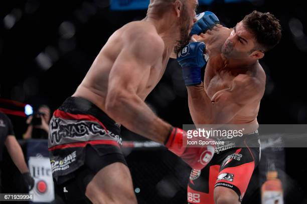 Saad Awad takes on Ryan Quinn in a Lightweight bout on April 21 2017 at Bellator 178 at the Mohegan Sun Arena in Uncasville Connecticut Saad Awad...