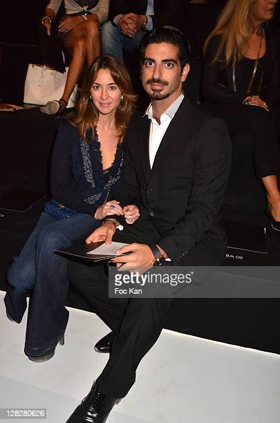 Saad Hariri and his wife attend the Elie Saab Front Row Paris Fashion Week Spring / Summer 2012 at Espace Ephemere Tuileries on October 5 2011 Paris...