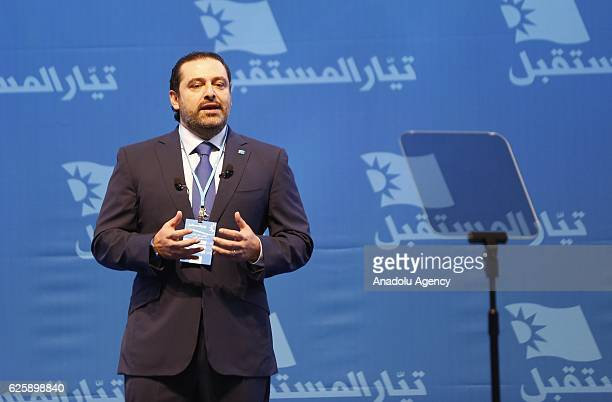 Saad Hariri former Prime Minister of Lebanon and the leader of the Future Movement party delivers a speech during the '2nd General Assembly meeting...