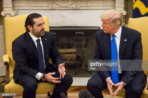 Saad Hariri Prime Minister of Lebanon speaks during a bilateral meeting with US President Donald Trump in the Oval Office at the White House on July...