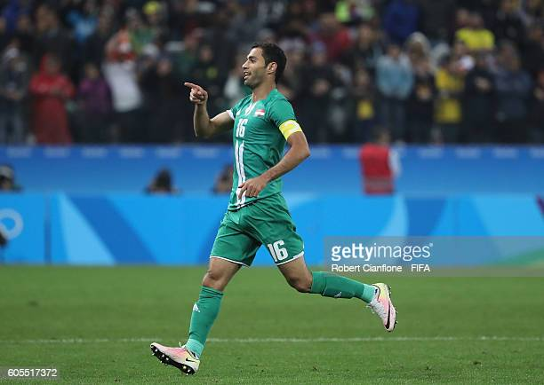 Saad Luaibi of Iraq celebrates after scoring a goal during the Men's First Round Group A match between South Africa and Iraq on Day 5 of the Rio 2016...