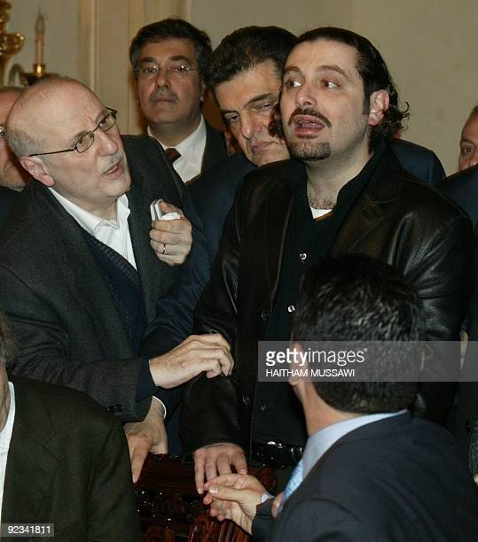 Saadeddine Hariri son of late former Lebanese Prime Minister Rafiq Hariri reacts as he attends a press conference with the Lebanese opposition in...