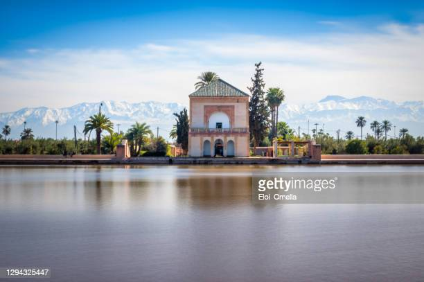 saadian pavilion,menara gardens and atlas in marrakech, morocco, africa - adobe stock pictures, royalty-free photos & images