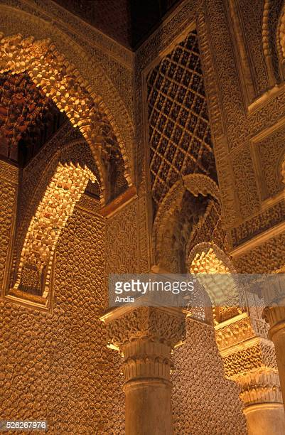 Saadian tombs inside the Mosque of the Golden Apples , Marrakech, Morocco.