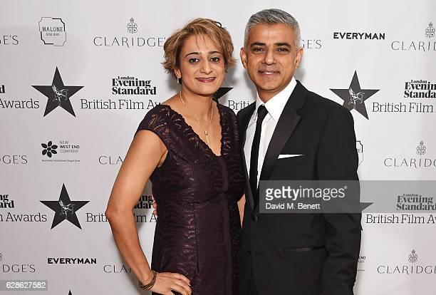 Saadiya Khan and Mayor Of London Sadiq Khan arrive at The London Evening Standard British Film Awards at Claridge's Hotel on December 8 2016 in...