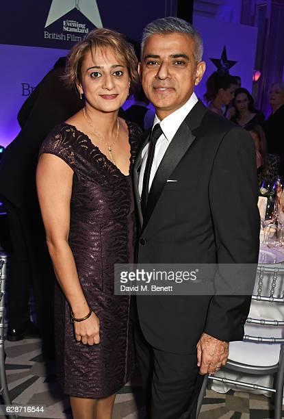 Saadiya Khan and Mayor of London Sadiq Khan attend The London Evening Standard British Film Awards at Claridge's Hotel on December 8 2016 in London...