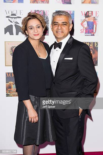 Saadiya Khan and Sadiq Khan arrive for the Gala to celebrate the Vogue 100 Festival at Kensington Gardens on May 23 2016 in London England