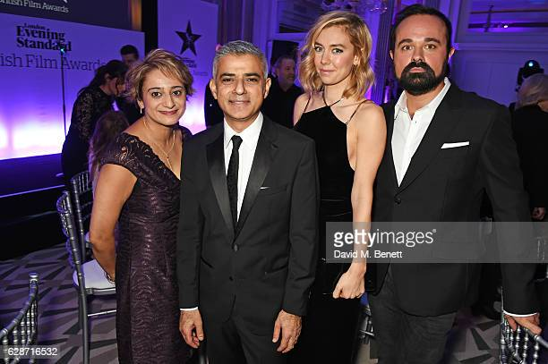 Saadiya Khan Mayor Of London Sadiq Khan Vanessa Kirby and Evgeny Lebedev attend at The London Evening Standard British Film Awards at Claridge's...