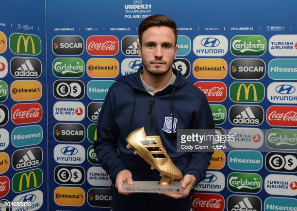 Saal Niguez of Spain with his adidas Golden Boot award after the UEFA European Under21 Championship 2017 final on June 30 2017 in Krakow Poland