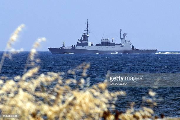 Sa'ar 5 a class of Israeli Navy corvettes leaves a military port in the northern Mediterranean coastal city of Haifa on May 14 2014 AFP PHOTO / JACK...