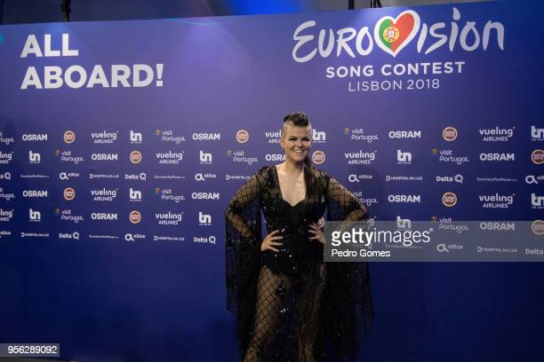 Saara Aalto from Finland arrives at the press conference for the artists that qualified for the Eurovision Song Contest final on May 8 2018 in Lisbon...