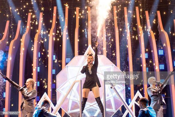 Saara Aalto from Finland performs during dress rehearsals for the first semi final of Eurovision Song Contest on May 7 2018 in Lisbon Portugal
