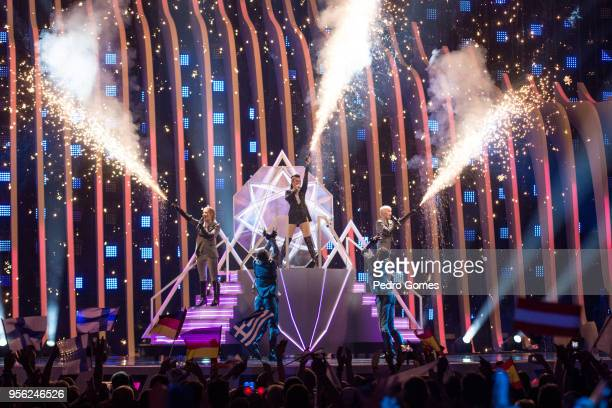 Saara Aalto from Finland performs during Eurovision Song Contest first semi final on May 8 2018 in Lisbon Portugal