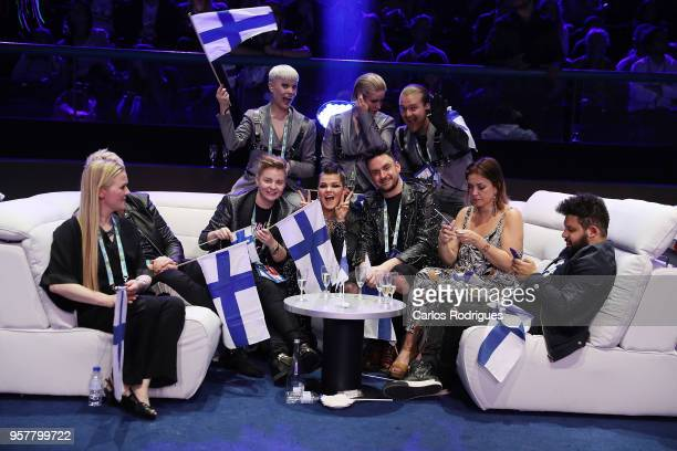 Saara Aalto of Finland reacts in the green room during the Eurovision 2018 Grand Final at Altice Arena on May 12 2018 in Lisbon Portugal
