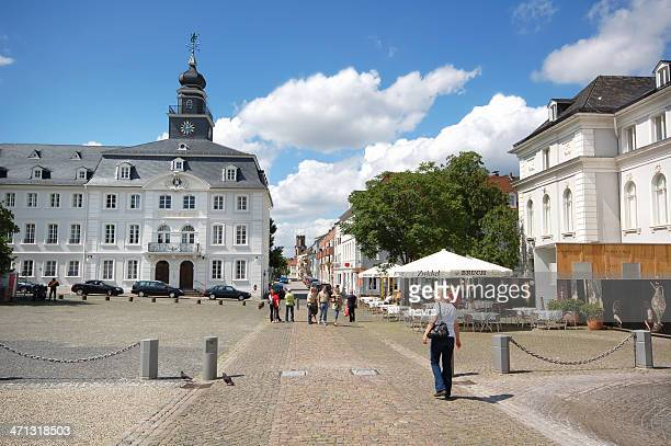Saarbrücken with old town hall (Germany) and restaurants
