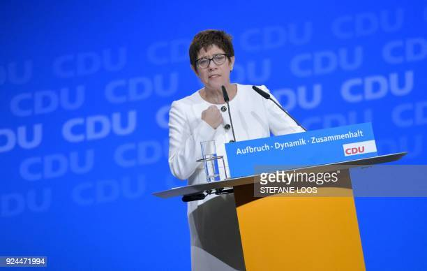 Saarland's State Premier and designated secretary general of the Christian Democratic Union Annegret KrampKarrenbauer gives a speech during the CDU's...