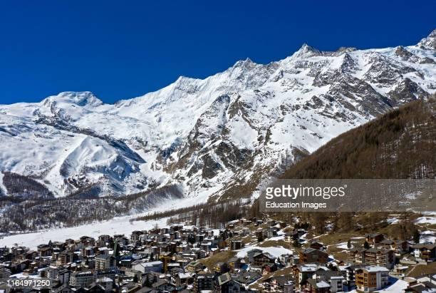 SaasFee with the peak Alphubel and the Mischabel massif Valais Switzerland