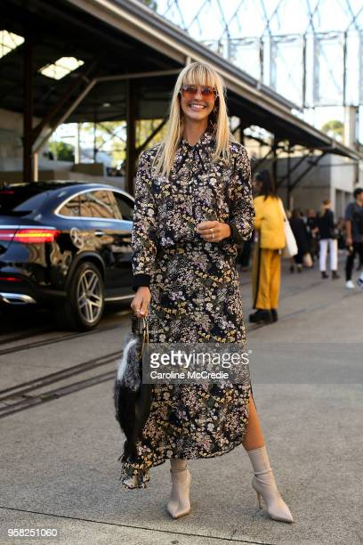 Saasha Burns wears Viktoria and Woods during MercedesBenz Fashion Week Resort 19 Collections at Carriageworks on May 14 2018 in Sydney Australia