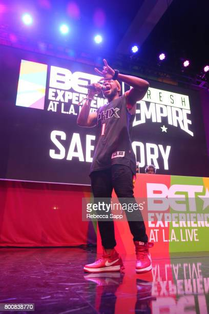 Sab $tory performs onstage during the 2017 BETX main stage performances sponsored By Fresh Empire at Staples Center on June 25 2017 in Los Angeles...