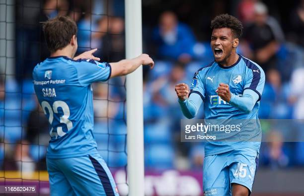 Saba Lobjanidze and Marvin Egho of Randers FC celebrate after scoring their first goal during the Danish 3F Superliga match between Randers FC and...