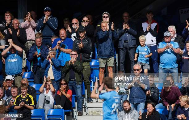 Saba Lobjanidze of Randers FC applauds fans during the Danish 3F Superliga match between Randers FC and Silkeborg IF at Cepheus Park on September 1...