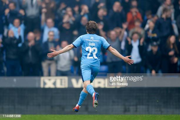 Saba Lobjanidze of Randers FC celebrates after scoring their first goal during the Danish Superliga match between Randers FC and AGF Aarhus at...
