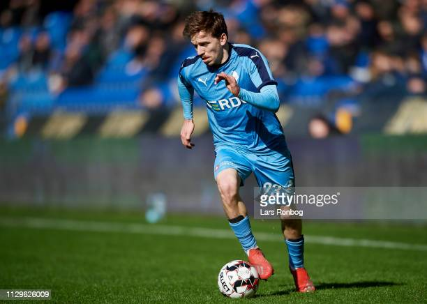 RANDERS DENMARK MARCH Saba Lobjanidze of Randers FC controls the ball during the Danish Superliga match between Randers FC and AC Horsens at Cepheus...