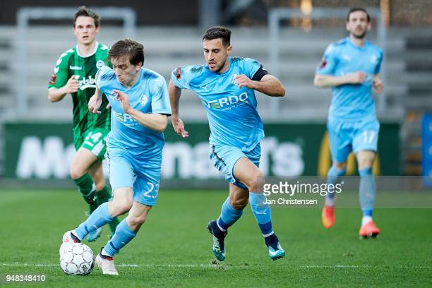 Saba Lobzhanidze of Randers FC and Bashkim Kadrii of Randers FC in action during the Danish Alka Superliga match between Randers FC and OB Odense at...