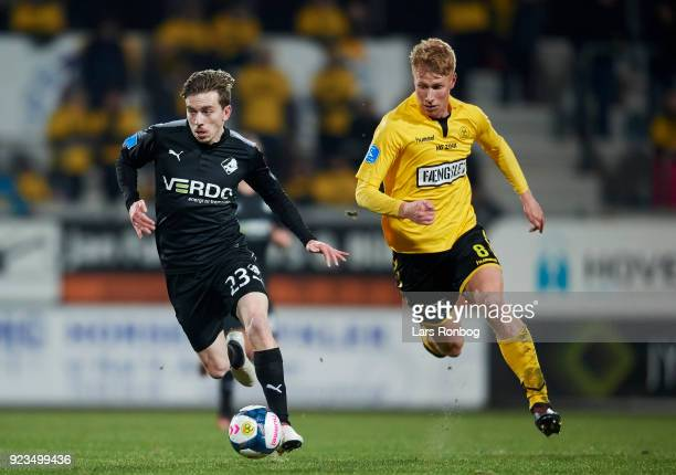 Saba Lobzhanidze of Randers FC and Bjarke Jacobsen of AC Horsens compete for the ball during the Danish Alka Superliga match between AC Horsens and...