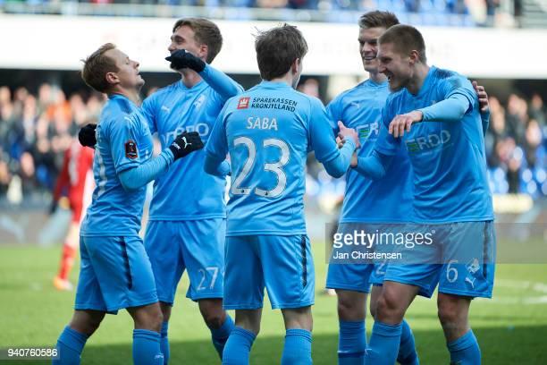Saba Lobzhanidze of Randers FC and teammates celebrates his 10 goal during the Danish Alka Superliga match between Randers FC and Lyngby BK at...