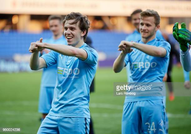 Saba Lobzhanidze of Randers FC celebrate during the Danish Alka Superliga match between Randers FC and Sonderjyske at BioNutria Park on April 22 2018...