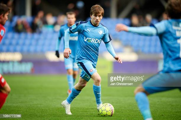 Saba Lobzhanidze of Randers FC controls the ball during the Danish Superliga match between Randers FC and Esbjerg fB at BioNutria Park Randers on...