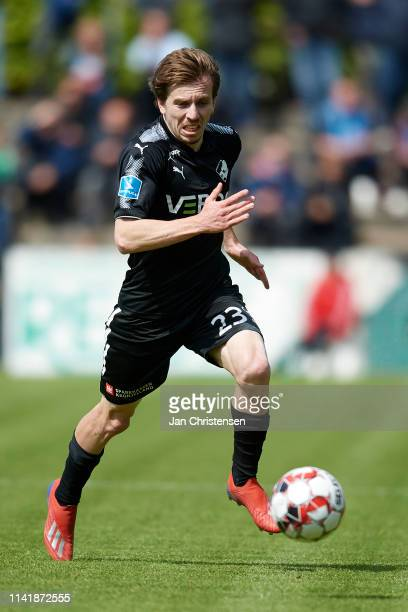 Saba Lobzhanidze of Randers FC controls the ball during the Danish Alka Superliga match between SonderjyskE and Randers FC at Sydbank Park on May 05...
