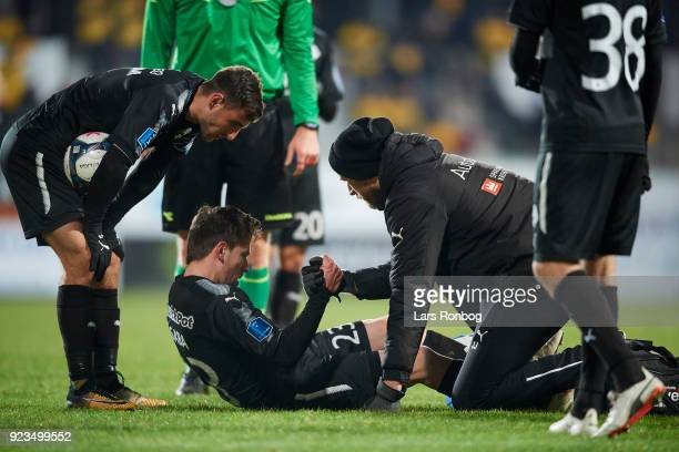 Saba Lobzhanidze of Randers FC injured the pitch during the Danish Alka Superliga match between AC Horsens and Randers FC at CASA Arena Horsens on...