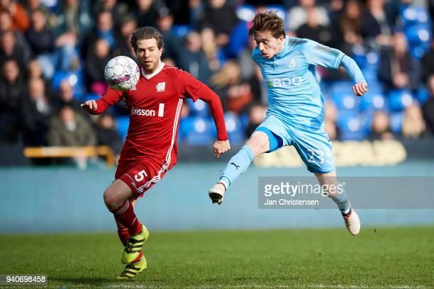 Saba Lobzhanidze of Randers FC kick his 20 goal during the Danish Alka Superliga match between Randers FC and Lyngby BK at BioNutria Park Randers on...