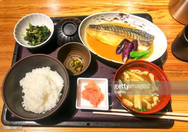 saba misoni teishoku - simmered mackerel with miso set meal - aburaage stock pictures, royalty-free photos & images