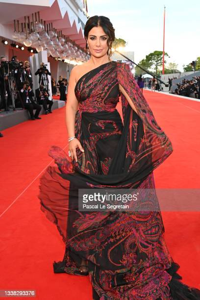 """Saba Mubarak arrives on the red carpet for the """"Competencia Oficial"""" screening during the 78th Venice Film Festival on September 04, 2021 in Venice,..."""