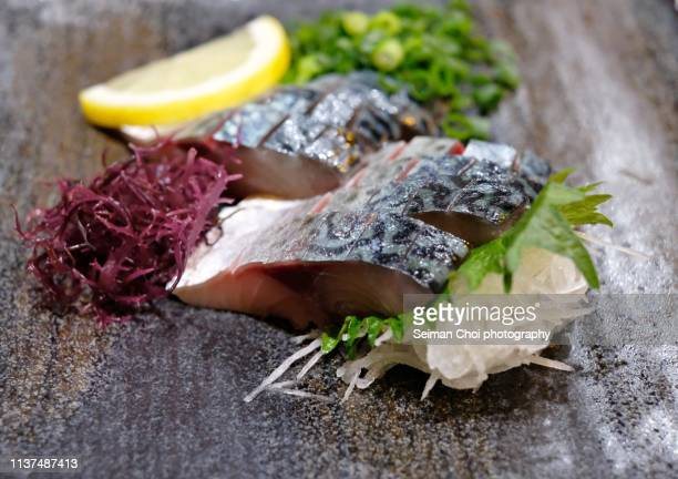 saba sashimi, japanese food - mackerel stock pictures, royalty-free photos & images