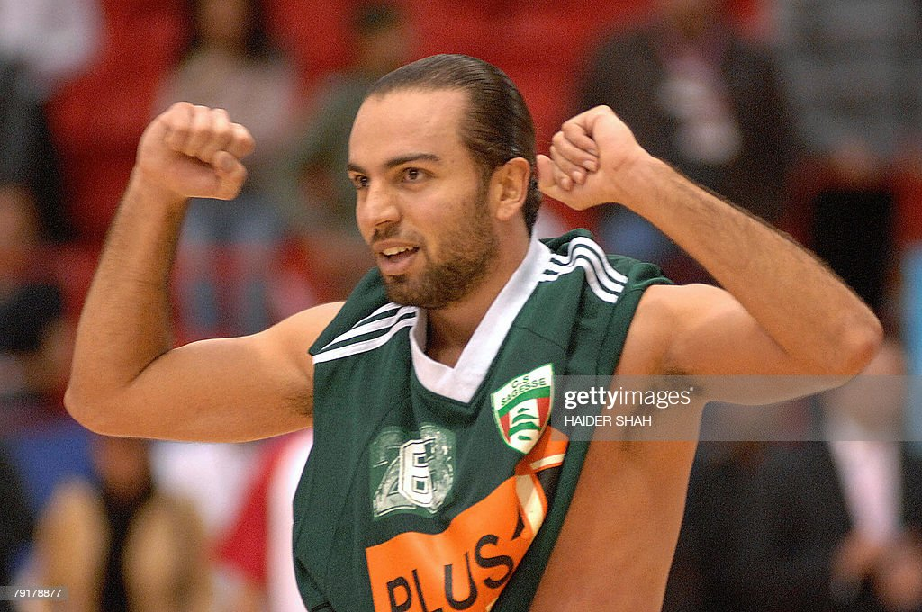 Sabah Khory of Lebanon's Sagesse club celebrates after winning a basketball match against Iran's Mohram club at the 19th Dubai International Basketball Championship, 23 January 2008.