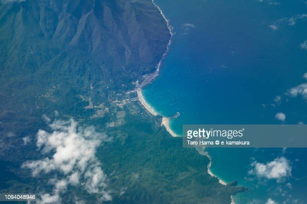 Sabang in Puerto Princesa in Province of Palawan in Philippines daytime aerial view from airplane daytime aerial view from airplane