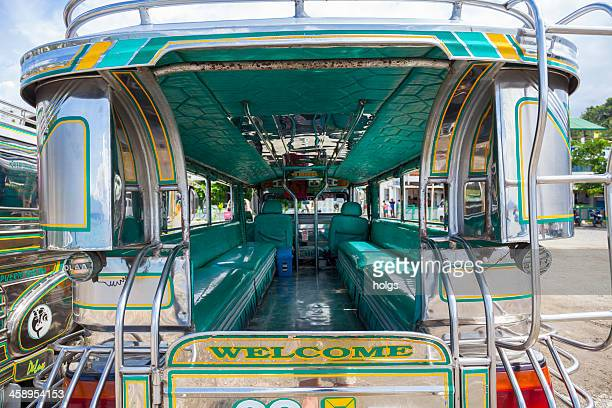 sabang, philippines: jeepneys at the beach - jeepney stock pictures, royalty-free photos & images