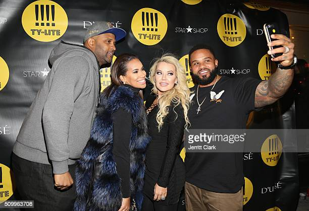 C Sabathia Amber Sabathia Chanel Fielder and Prince Fielder attend the TYLITE Launch Party at Wallplay Gallery on February 12 2016 in New York City