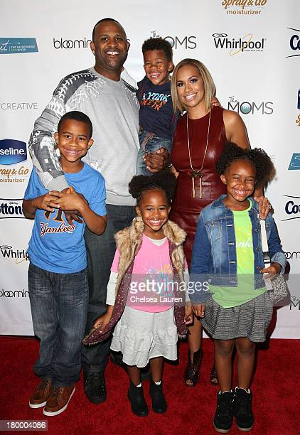 Sabathia and Amber Sabathia pose with children Carsten Jaden Cyia and Carter backstage at Strut The Fashionable Mom Show during MercedesBenz Fashion...