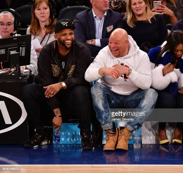 Sabathia and guest attend the New York Knicks vs Milwaukee Bucks game at Madison Square Garden on February 6 2018 in New York City